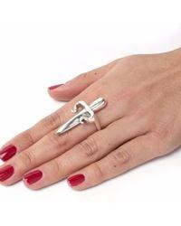 Leivan Kash - Metallic Dagger Ring Silver - Lyst