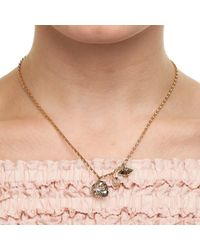 Nadia Minkoff | Metallic Crystal Skull & Double Spike Necklace Gold Patina | Lyst