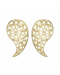 Sonal Bhaskaran | Metallic Jaali Gold Earrings Clear Cz | Lyst