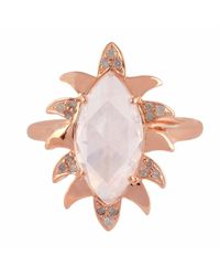 Meghna Jewels - Pink Claw Marquise Ring Moonstone & Diamonds - Lyst