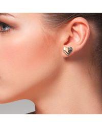 Latelita London - Pink Diamond Half & Half Heart Earring - Lyst