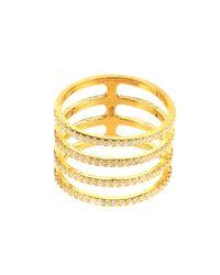 Latelita London - Metallic Four Line Geometric Fashion Ring Gold - Lyst