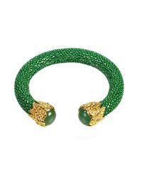 Latelita London - Stingray Bangle Emerald Green With Jade - Lyst