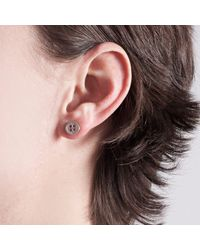 Edge Only - Metallic Button Earrings Silver - Lyst