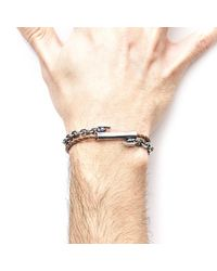 Anchor & Crew - Light Brown Belfast Silver & Braided Leather Bracelet for Men - Lyst