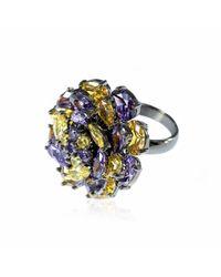 Cielle - Multicolor Fleur De Cielle Spinning Flower Cocktail Ring Citrine & Tanzanite - Lyst