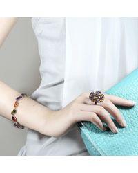 Cielle - Metallic Crystal Spring Leaves Statement Bracelet - Lyst