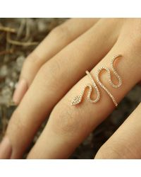 Talia Naomi - Metallic Snake Ring Rose Gold White Diamond - Lyst