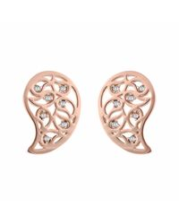 Sonal Bhaskaran | Pink Reya Rose Gold Paisley Earrings Clear Cz | Lyst