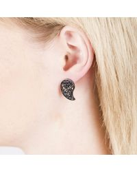 Sonal Bhaskaran - Black Reya Ruthenium Paisley Earrings Spinel - Lyst