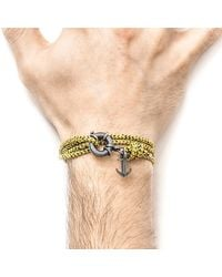 Anchor & Crew - Multicolor Yellow Noir Clyde Rope & Silver Bracelet for Men - Lyst