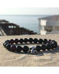 Latelita London - Skull Bracelet Sterling Silver Black Onyx - Lyst