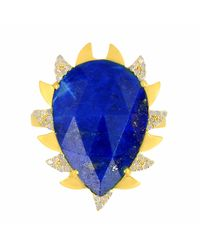 Meghna Jewels - Multicolor Claw Ring Lapis & Diamonds - Lyst
