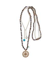 Platadepalo | Brown Bronze & Resin Necklace Zircon Stones | Lyst