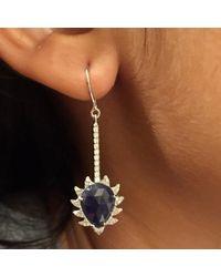 Meghna Jewels - Claw Linear Earrings Blue Sapphire & Diamonds - Lyst