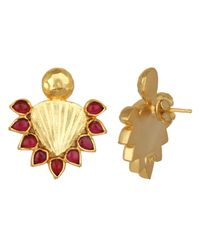 Carousel Jewels - Metallic Red & Gold Statement Earrings - Lyst