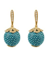 Latelita London - Stingray Ball Drop Earring Gold Ocean Blue - Lyst