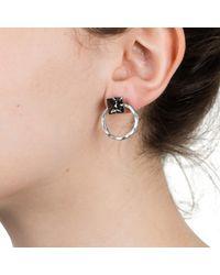 Nadia Minkoff - Metallic Two Part Hoop Earring Silver - Lyst
