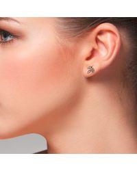 Latelita London - Multicolor Diamond Rosegold Leaf Stud Earring - Lyst