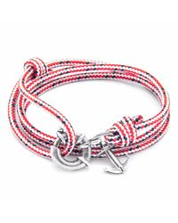 Anchor & Crew | Red Dash Clyde Silver & Rope Bracelet for Men | Lyst