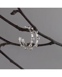 Marcia Vidal - Metallic Silver Studded Hoops - Lyst