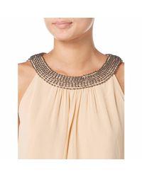 Raishma - Natural Nude Embellished Collar Swing Dress - Lyst