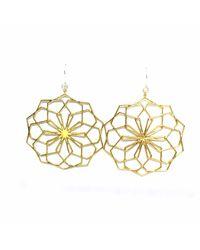 Dream of Songs - Metallic Floral Essence Earrings Brass - Lyst