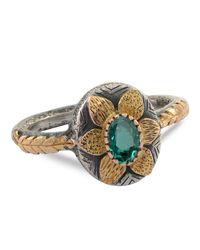 Emma Chapman Jewels - Green Lola Emerald Gold Flower Ring - Lyst