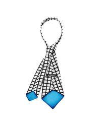 Scenery Label - White Grid Necktie for Men - Lyst