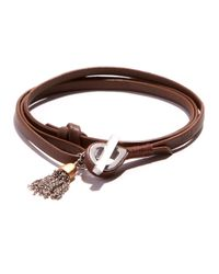 JAM MMXIV | Brown Camel Leather Shoestring Wrap Bracelet With Two-tone Tassel Charm for Men | Lyst