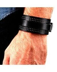 JAM MMXIV - Black & White Wide Leather Cuff Bracelet for Men - Lyst