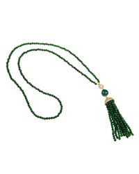 Latelita London | Green Jade Tassel Necklace White Cz | Lyst