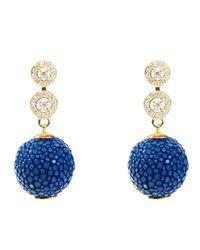Latelita London | Stingray Ball Earring With Zircon Royal Blue | Lyst