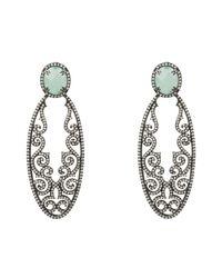 Latelita London - Multicolor Jasmine Aqua Chalcedony Gemstone Earring Oxidised - Lyst