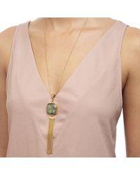 Ottoman Hands | Metallic Labradorite Stone And Chain Tassel Necklace | Lyst