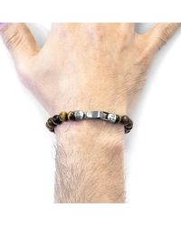 Anchor & Crew - Multicolor Brown Tigers Eye Outrigger Silver & Stone Bracelet for Men - Lyst
