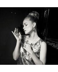 Latelita London - Single Drop Earring Gold Blue Chalcedony - Lyst