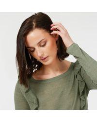 Ille De Cocos - Green Linen Ruffle Sweater Sage - Lyst