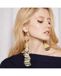 Nocturne - Metallic Ray Feather Earrings Stud - Lyst