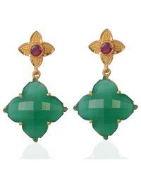 Emma Chapman Jewels - Throwing Star Green Onyx Ruby Earrings - Lyst