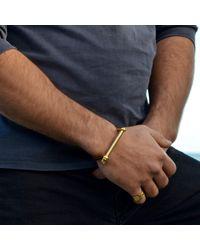 Opes Robur - Metallic Mens Gold Screw Cuff Bracelet - Lyst