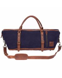MAHI Leather - Leather Long Armada Duffle Large Weekend Overnight Holdall In Navy Blue Canvas for Men - Lyst
