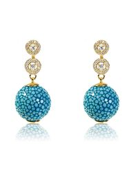 Latelita London | Multicolor Stingray Ball Earring With Zircon Ocean | Lyst