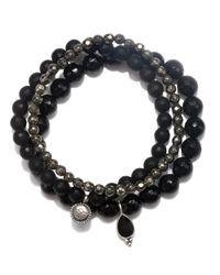 Satya Jewelry - Black Onyx & Pyrite Stretch Bracelet Set - Lyst