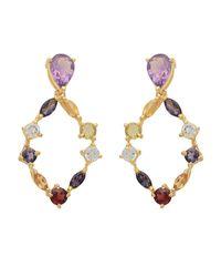 Carousel Jewels - Metallic Gold Multi Stone Hoop Earrings - Lyst