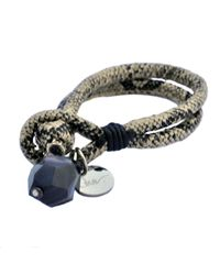 Ona Chan Jewelry - Vegan Leather Snake Print Bracelet With Black Striped Agate Tan - Lyst