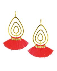 Ottoman Hands - Multicolor Coral Tassel Gold Statement Earrings - Lyst