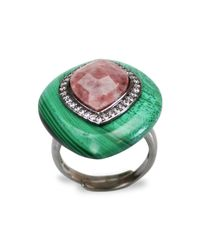 Bellus Domina - Green Adjustable Jasper & Malachite Cocktail Ring - Lyst