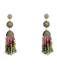 Latelita London - Multicolor Tassel Ball Earring Tourmaline Peridot Cz - Lyst