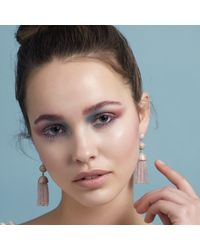 Latelita London - Pink Tassel Ball Earring Rose Quartz Rosegold - Lyst